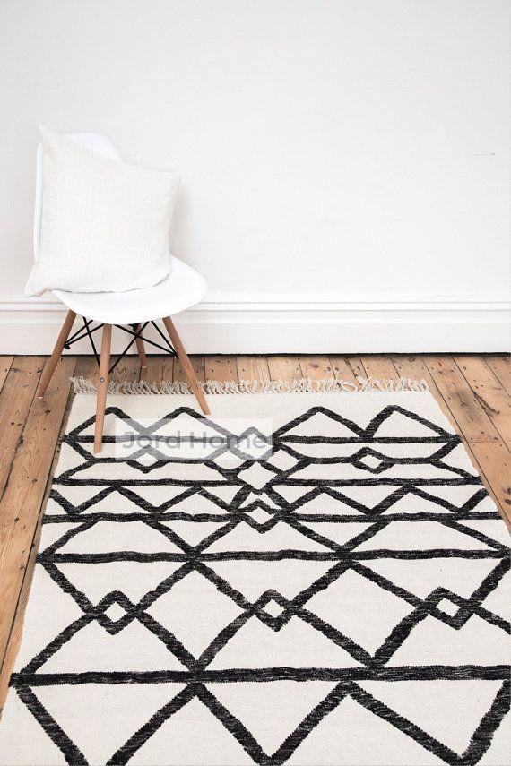 Geometrische Monochrome Teppich Erstellen Von Gedeckten Zuruck Scandi Stil In Ihrem Hause Jord Home Hand Gefertigt