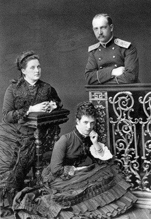 Maria Feodorovna (Dagmar) with brother King George of Greece and his wife Olga, circa 1877