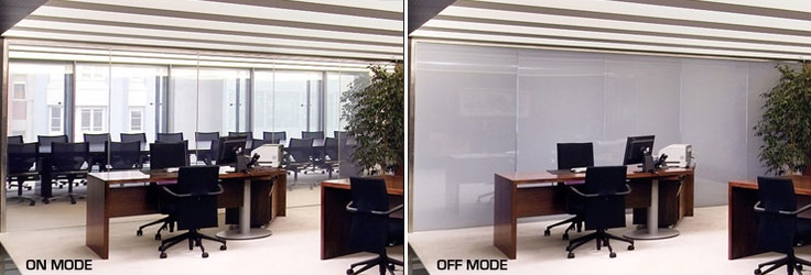 Privacy Glass solution for partition screens, Spain.