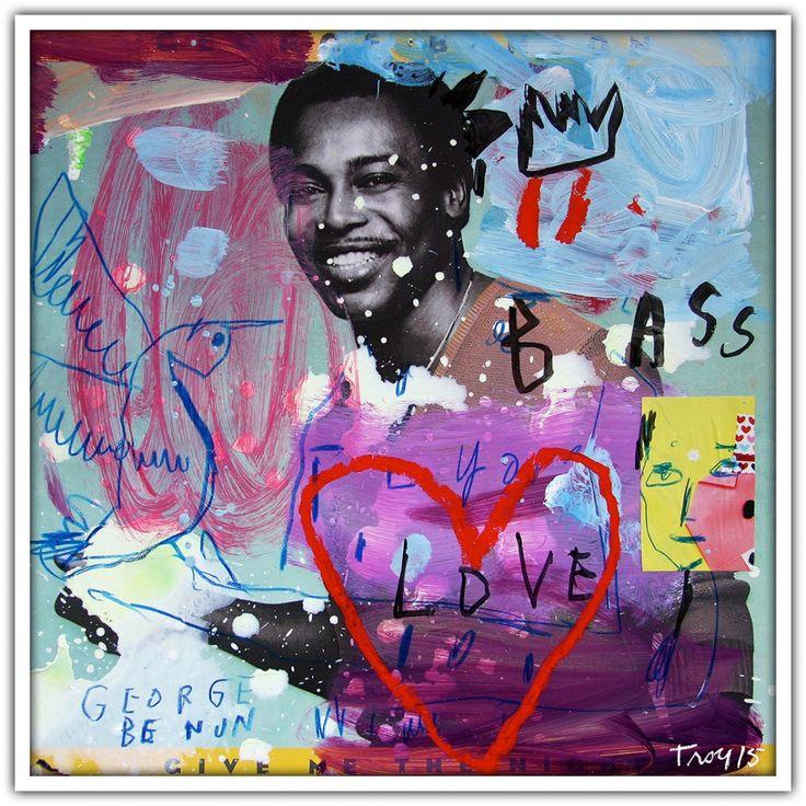Troy Henriksen - George Benson - Acrylique et mixte sur carton - 31 x 31 cm - 2015 - Galerie W - Galerie d'Art contemporain à Paris #galeriew #gallery #w #gallery w #troy-henriksen @galeriew