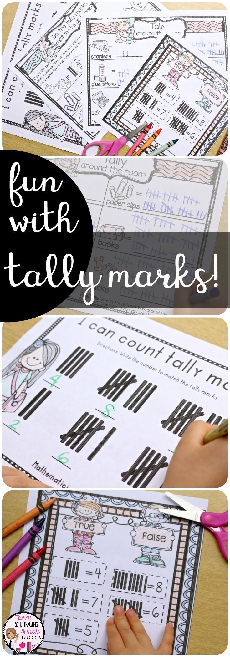 Tally Marks Practice and Activities for Kindergarten Math and First Grade Math.  Percent Tally Marks Counting Activities for Math Centers too!