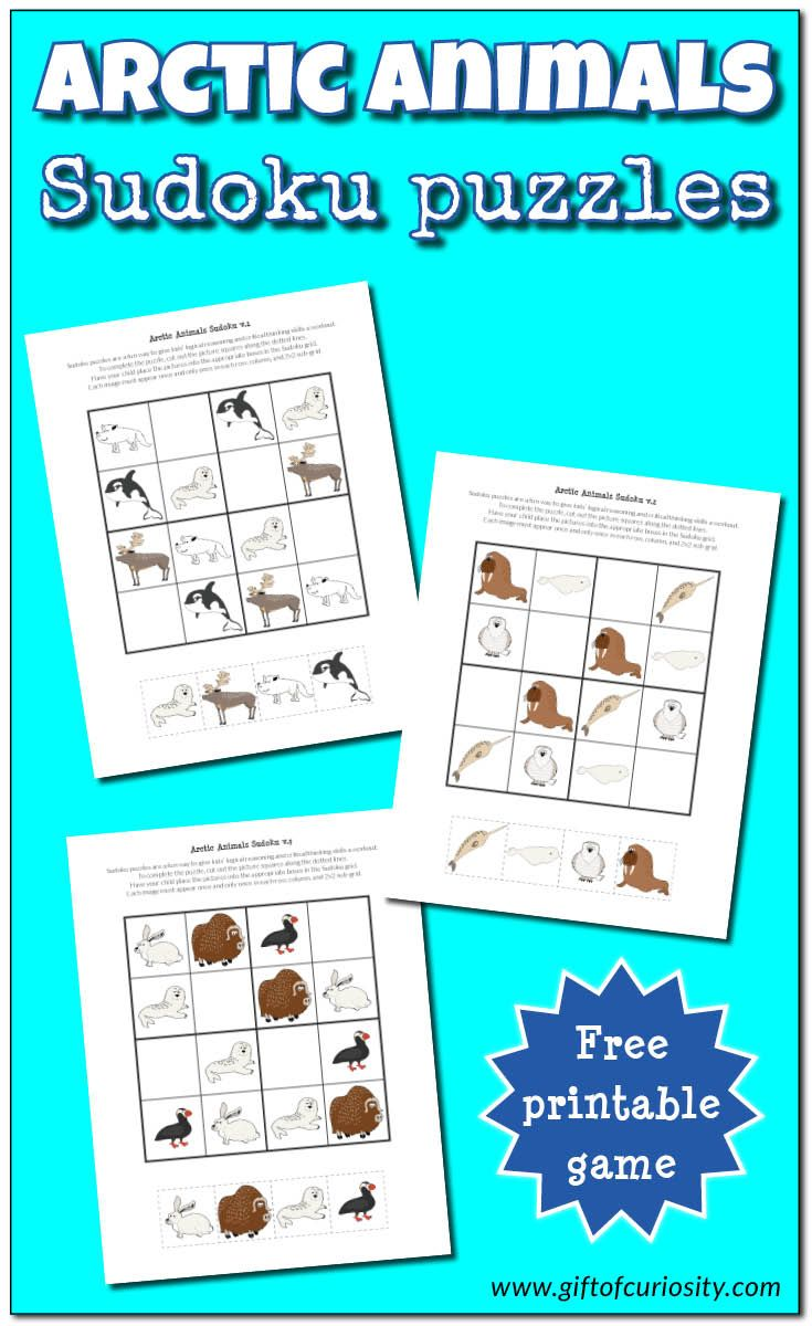 FREE printable Arctic animals Sudoku puzzles for kids || Gift of Curiosity