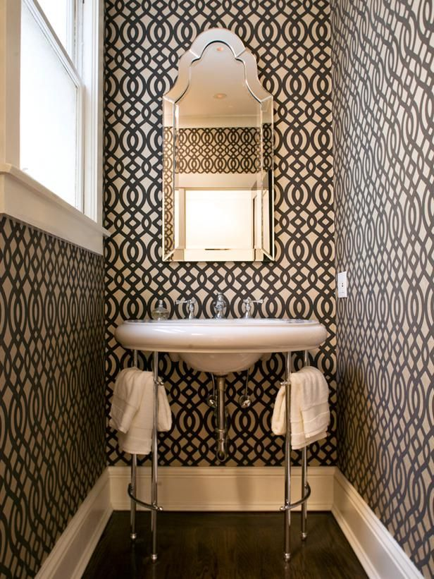 Or try a bold, patterned wallpaper that you wouldn't do in a larger space.: Mirror, Idea, Small Bathroom, Half Bath, Trellis, Sinks, Wallpapers, Small Spaces, Powder Rooms