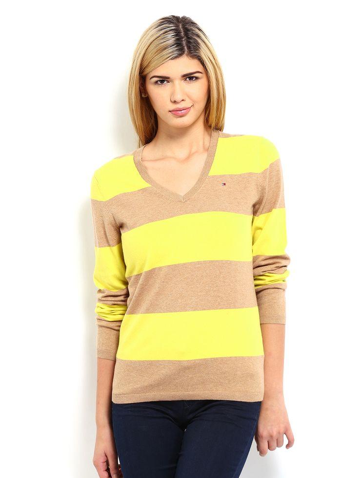 Women-Sweaters-striped-yellow