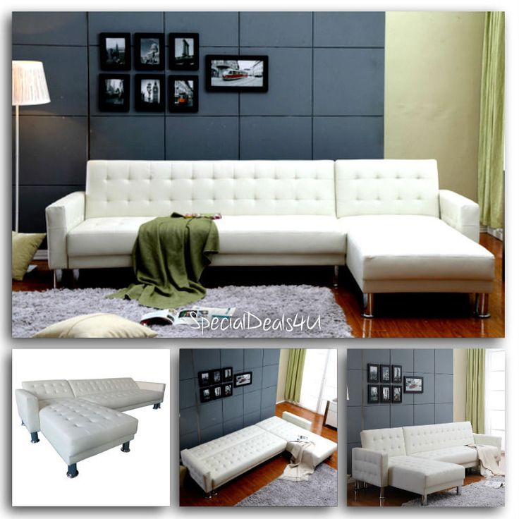 Leather Sectional Sofa Bed Sleeper Modern Couch Furniture Living Room Chaise New #WadeLogann #ModernContemporary