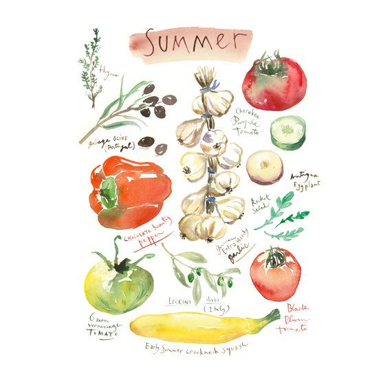 Colorful Kitchen Wall Art: Summer Vegetable Print, Colorful Kitchen Wall Art, Home