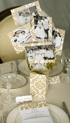 Anniversary Party Centerpiece Decoration Gold Damask with Photos
