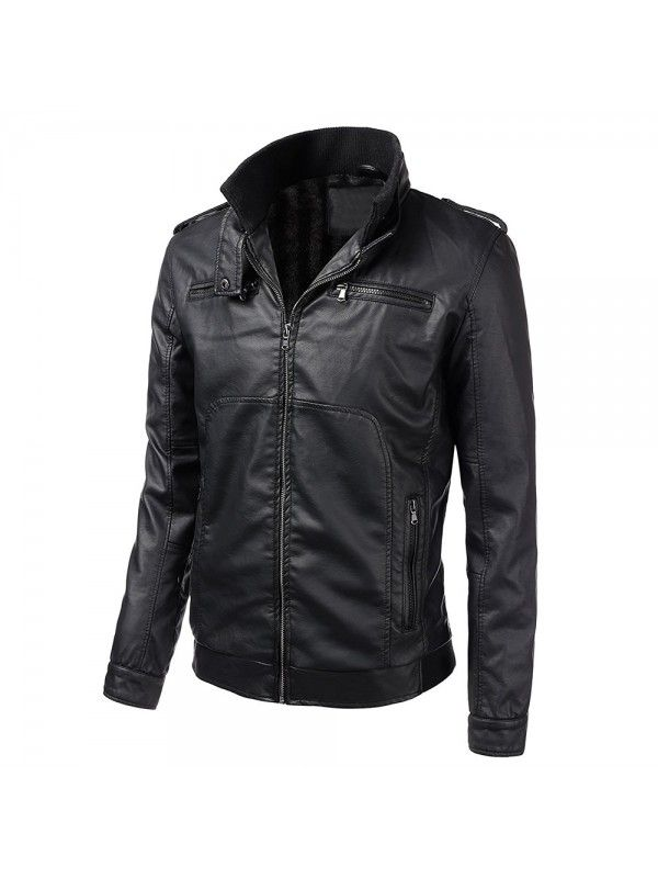 2788ef5be3da MENS LONG SLEEVE PREMIUM STAND COLLAR ZIP UP FAUX LEATHER JACKET ...