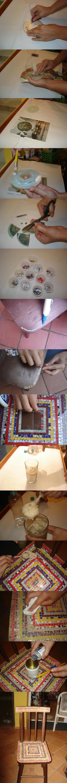 Aproveitamento de CD antigo para renovação de mobília, mosaico.