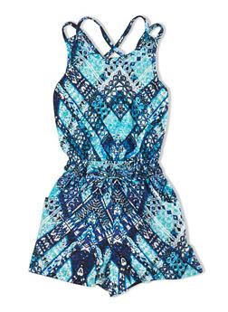 Girls Tribal Print Criss Cross Back Romper with Drawstring and Pockets - 1619060580082