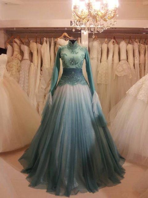 2016 мятно-зеленый мусульманин свадебное платье высокая шеи с длинными рукавами аравия свадебное платье кружева бусины платье-линии полная длина свадебное платье m9