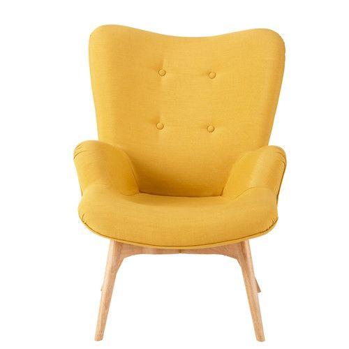 Stoffsessel im Vintage-Stil, gelb