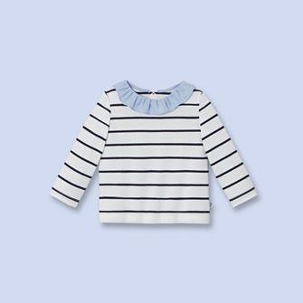 T-shirt à manches longues BLANC/BLEU Fille - Vêtement Bébé - Jacadi Paris