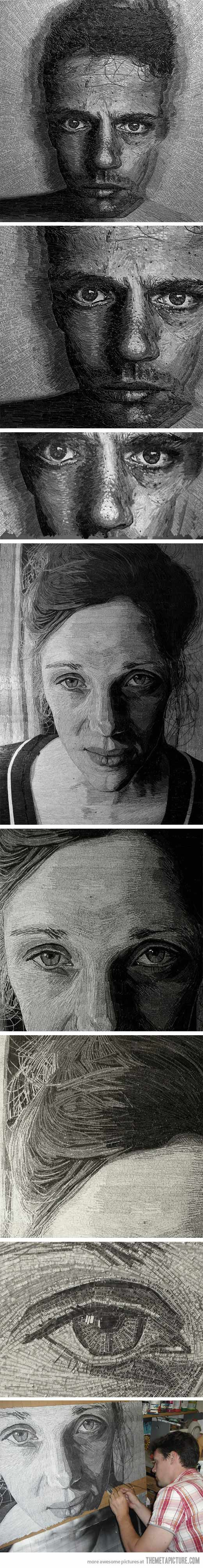Portraits made of shredded poetry by Jamie Poole…