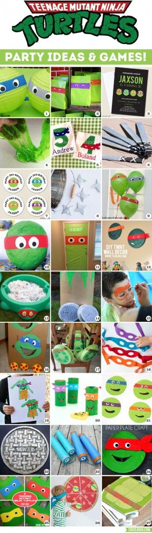 Awesome TMNT party decor, crafts, favors, and games! Tons of ideas!! #TMNT #TMNTparty