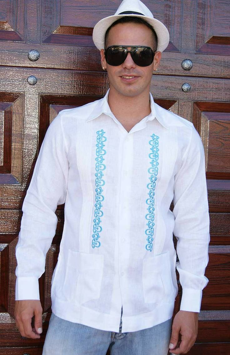 Guayabera for Wedding. Made by GCubanas  Rounded Embroidery.  - Premium Hight Quality Italian Linen Guayabera. Guayabera style. Mexican tucks.These Mexican wedding shirts  are long sleeves. Button cuff.Dry Clean for best result.A classic an sublimely soft  Linen 100 %.Availability is subject to changeManufacture in Mexico By GuayaberasCubanas.Just call us for Grooms wedding colors. Take 2 -3 weeks.