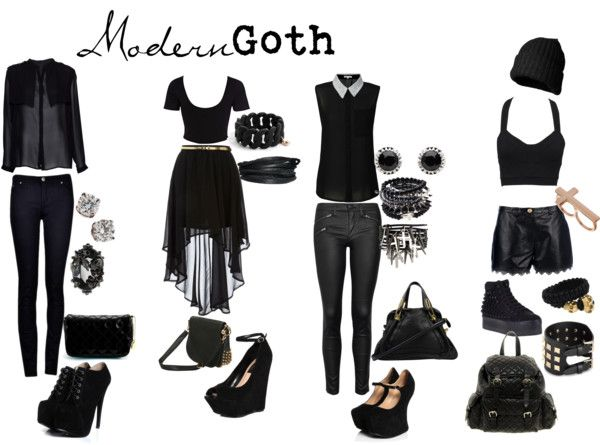 "This isn't bachelorette but it made me think of when you said you wanted to be goth this year hahaha - ""Modern Goth"" by pastelunicorn ❤ liked on Polyvore"
