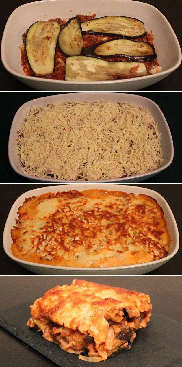 Skøn lasagne med oksekød og aubergineplader i stedet for de traditionelle pastaplader, så retten bliver sundere, men stadig smager som almindelig lasagne.