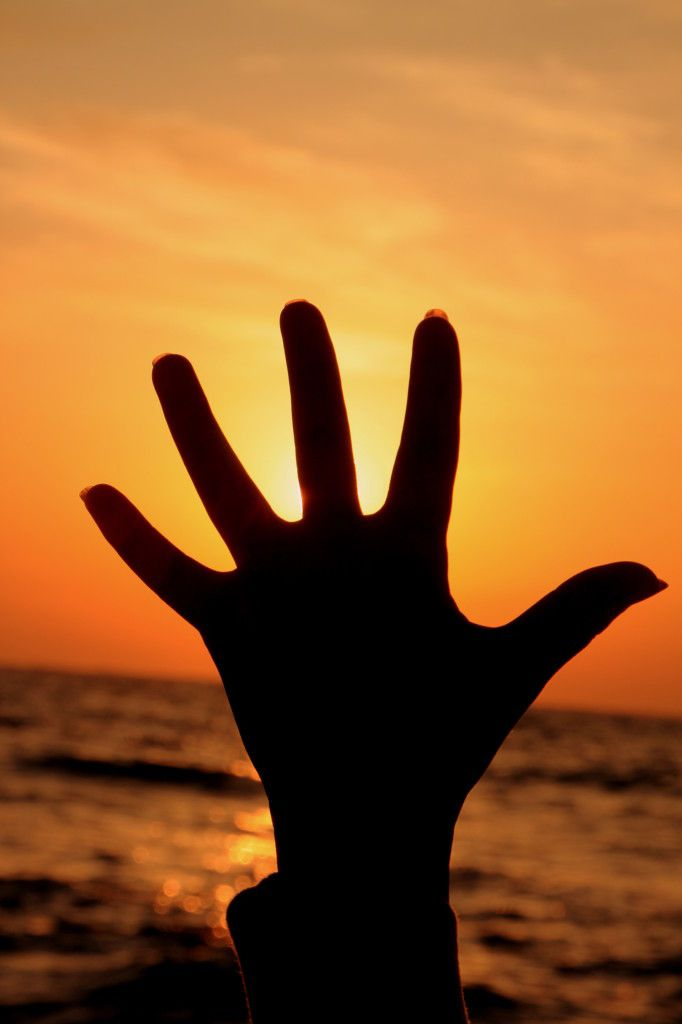 Image: Young Woman Hand and the Sun Sunrise