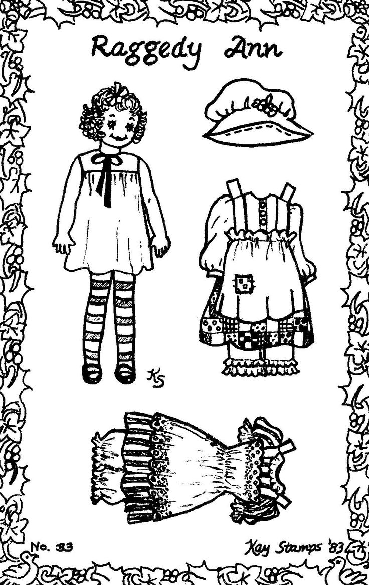 Childrens coloring sheet of a rag doll - Raggedy Ann Post Card Paper Doll By Kay Stamps Post Cardrag Dollspaper Dollsraggedy Anncoloring Bookstamps