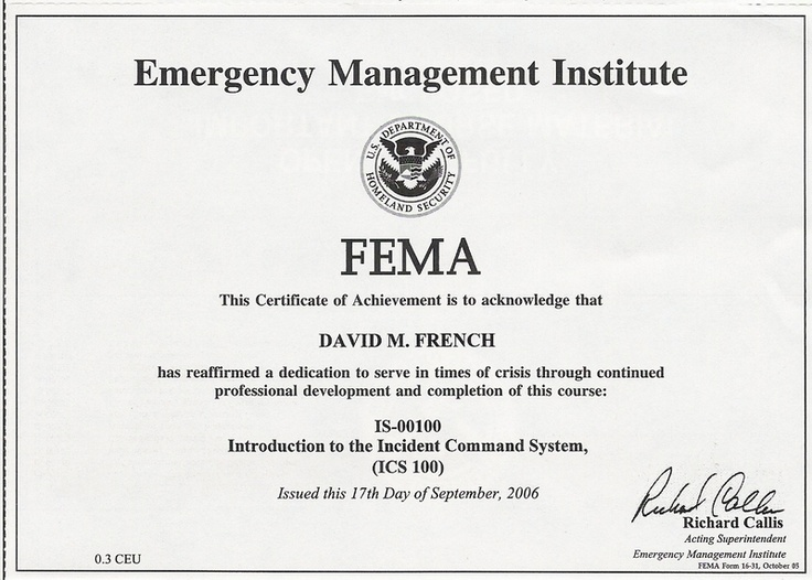 11 best FEMA Certificates images on Pinterest Certificate - completion certificate format