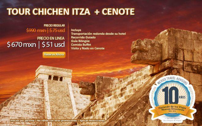Combo paquetes a Chichen Itzá con nado al cenote Ikkil y bufete con los platillos típicos de Yucatan...