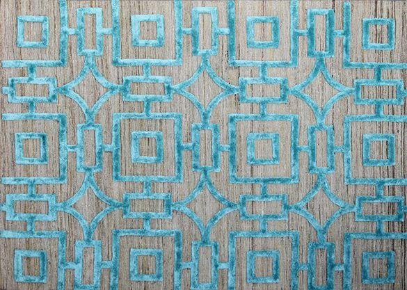 HMW 1015 TC - Hand Tufted Designer Rug, Wool/Viscose; Size:- 5''.5'' X 8''.5''; Color:-Beige/T Blue,
