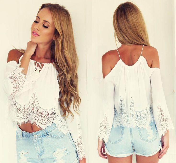 Free Shipping 2015 Newest Fashion Summer Woman Mini Crop Tops Lace Chiffon Sexy Casual White Long Sleeve Women's Short Tank Tops