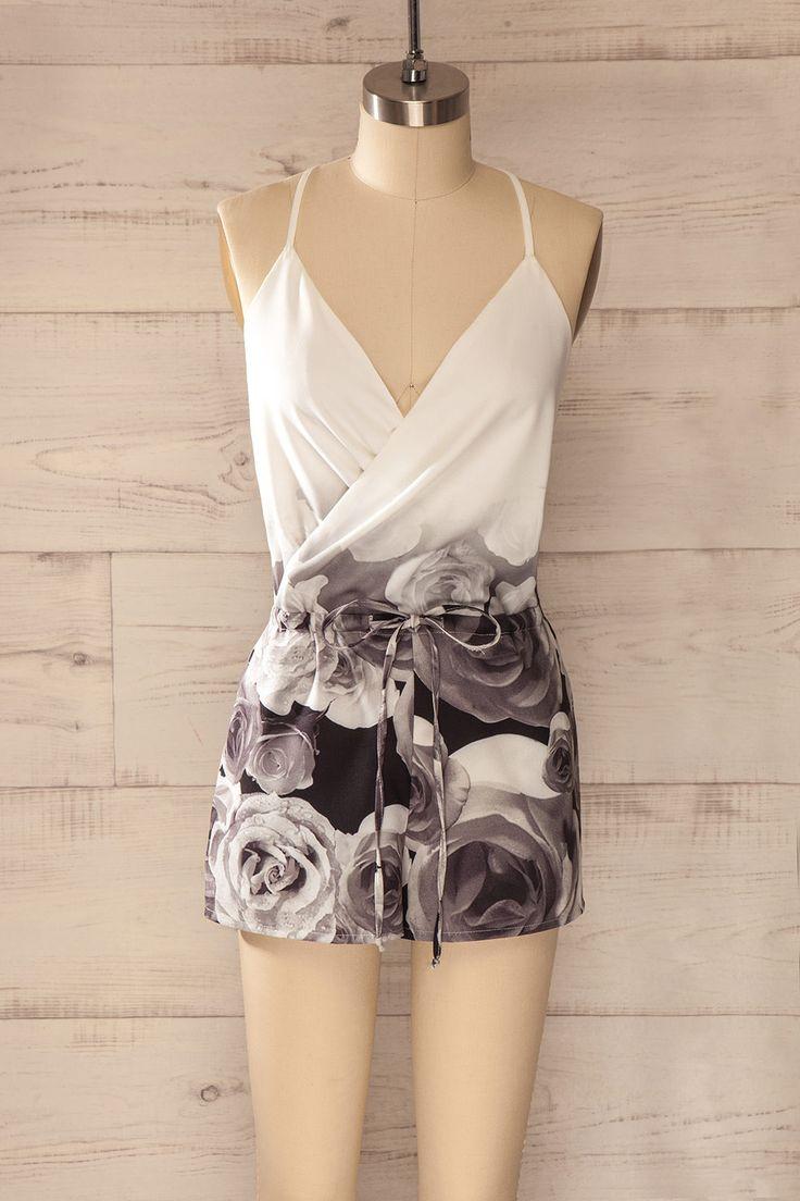 Lodi - White and black floral romper