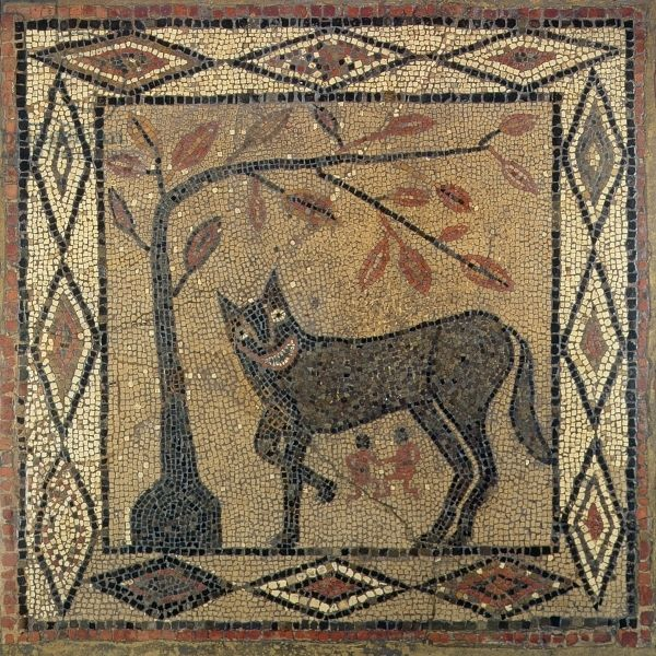 Wolf Mosaic, Aldborough Roman Town, Yorkshire, 300 AD (mosaic) legend of the foundation of Rome; a wolf suckles the twin brothers, Romulus and Remus. © Leeds Museums and Art Galleries (City Museum) UK