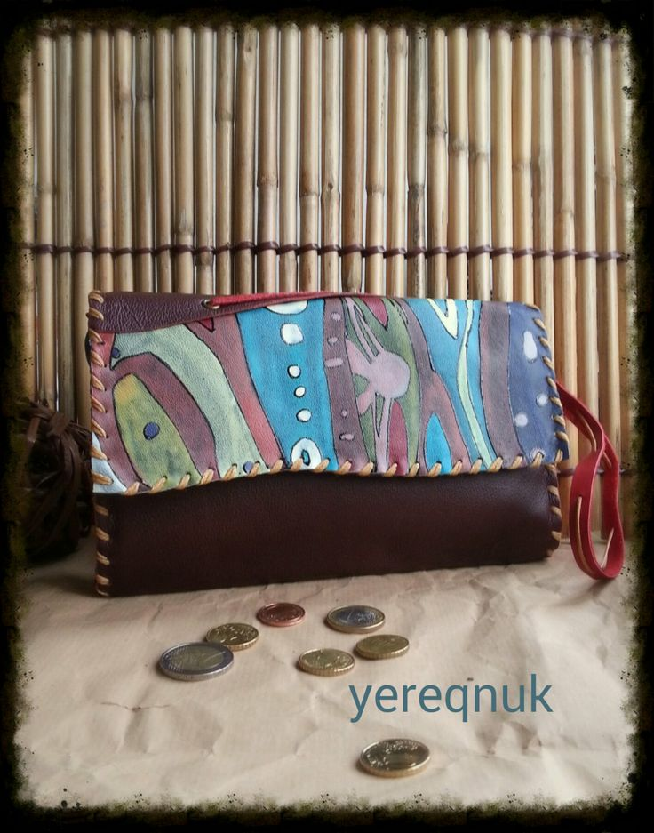 100 Handmade leather purse with acrylic by YereqnukHandicrafts, €36.00