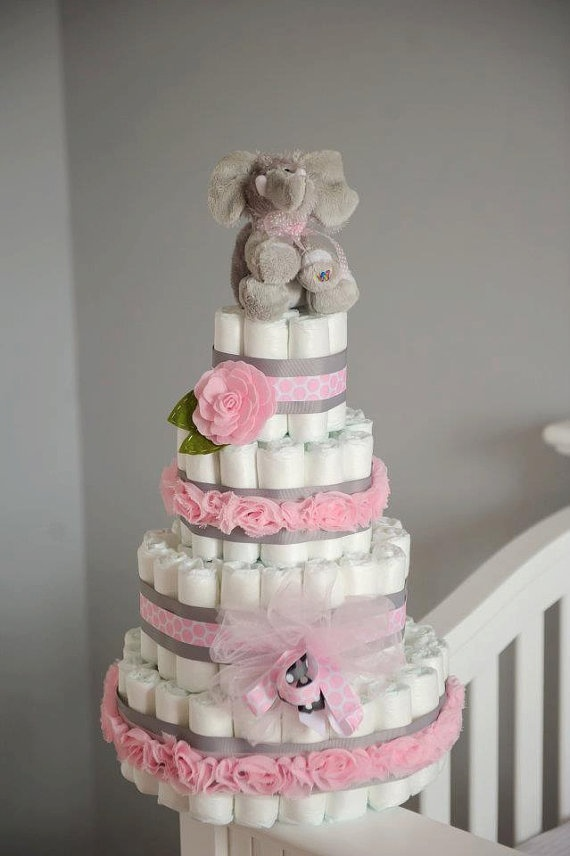 Diaper Cake Pink and Grey with Elephant