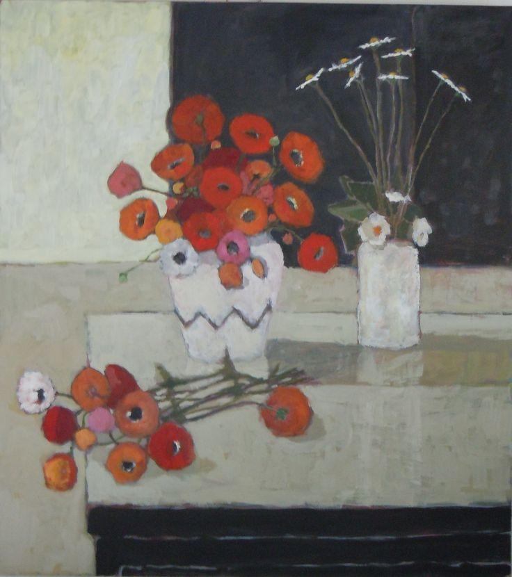 Anemoni dipinti olio su tela 90 x 100 Giacomo Mazzari www.giacomomazzari.it