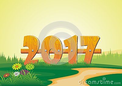 Happy new year 2017 font shaped fence on the hill - cartoon design,  beautiful view, pretty and funny