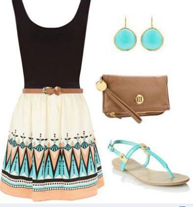3.) Church: I would wear this to Church in a heart beat! I love how the earrings add the pop of color but aren't too loud. Again, the shoes are flat which make it easier to walk and the bag being natural means it'll match more than just this dress! It also doesn't reveal anything which makes it perfect for church!