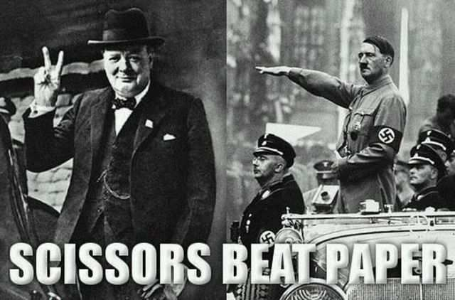 hitler lostHistory, Rocks Paper Scissors, Peace, Funny, Beats Paper, Humor, Winston Churchill, Scissors Beats, True Stories