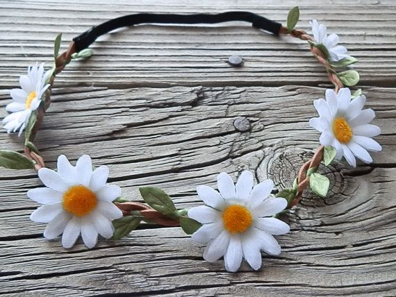 Daisy flower crown flower headband Hippie Boho headband with White daisy flower and elastic back for women and girls boho floral headband on Etsy, $10.00