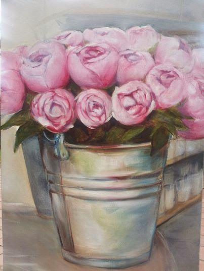 Kamers Peonies, Oil on Canvas, Melissa Von Brughan