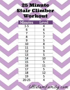 25 Minute Stair Climber Workout | The Little Lam-This would be great when I am in a hurry I always spend about 45 mins on the stair climber the days I don't do my 3 miles this could break up that 45 min for sure.