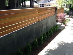 cinder block wood fence - Google Search