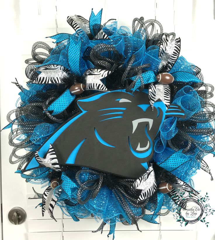 Carolina Panthers Wreath - Custom Order #carolinapanthers #nfl #panthers #football #pantherswreath #panthersdecor #decomeshwreath