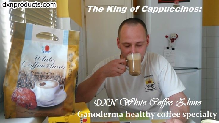 The King of Cappuccinos: DXN White Coffee Zhino Ganoderma healthy coffee specialty. This creamy, sweet alkaline coffee is my ghuge favourite from the range of DXN coffees.