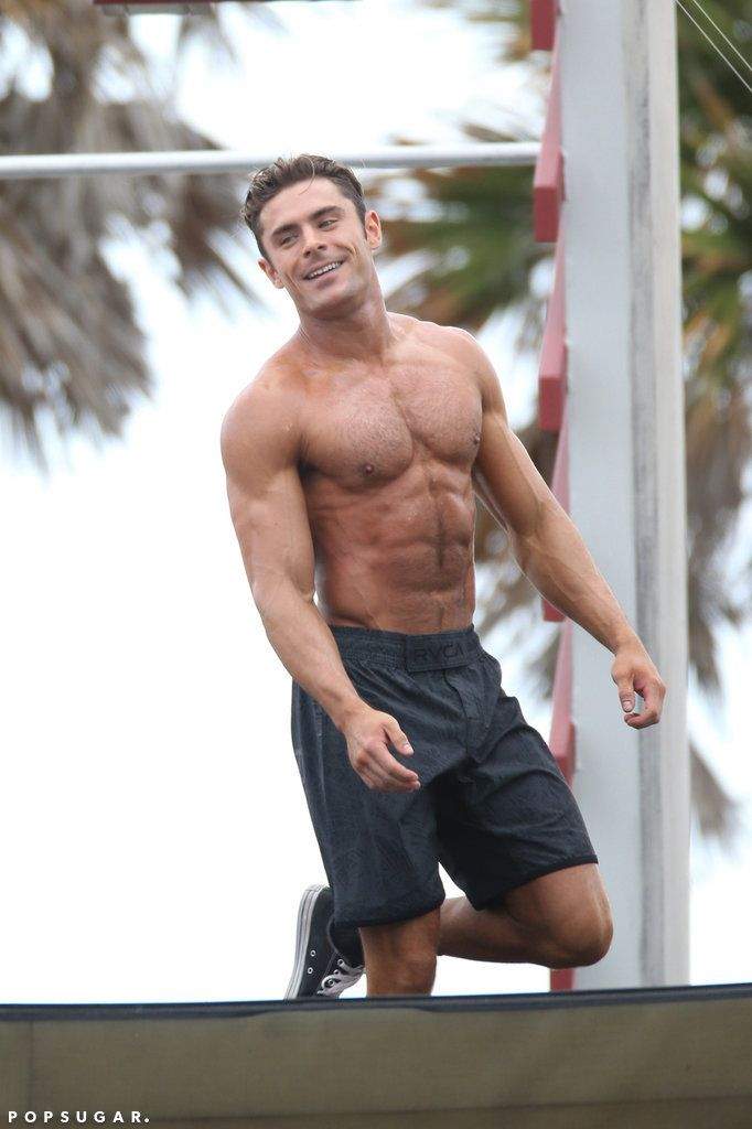 Zac Efron Shirtless Baywatch Movie Set Pictures | POPSUGAR Celebrity