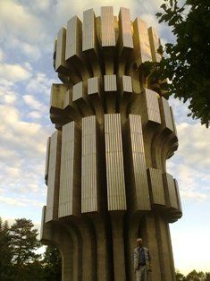 Monument to the Revolution, Mrakovica, KOZARA, Bosnia; concrete and stainless steel; hight 30 m_Dusan Dzamonja