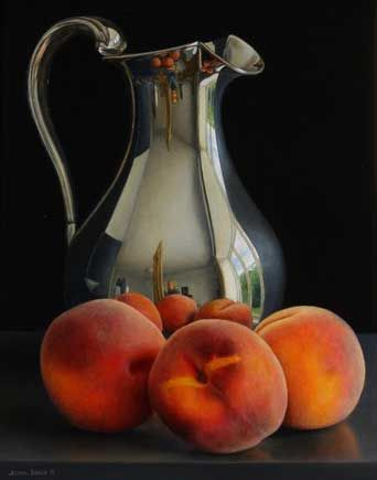 Still life with Silver Jug and Peaches by Jessica Brown