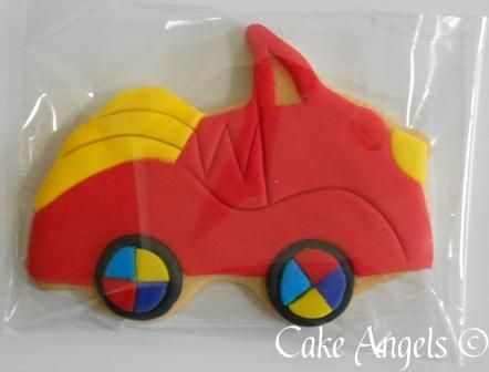 "Wiggles red car cookies-with ""maximo"" stamped on them"