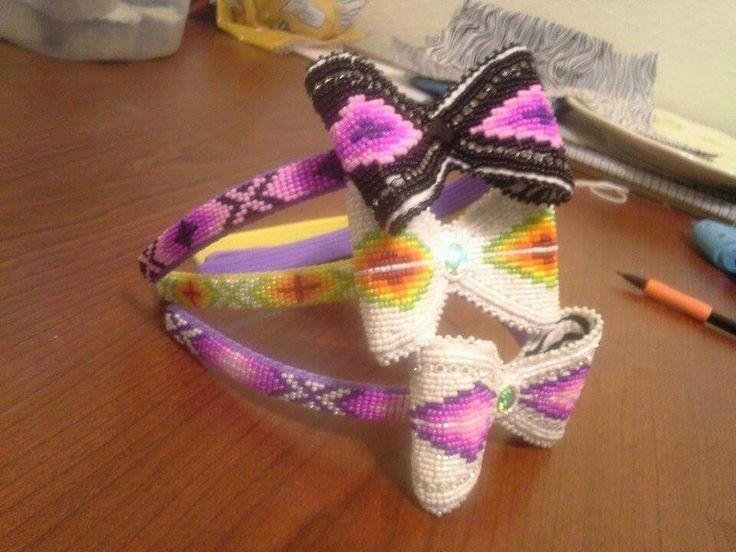 Return theme Native american beaded rosettes strips headbands