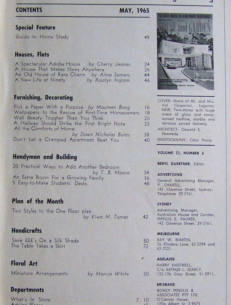 Australian House and Garden Magazine May 1965 | eBay