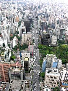 Av.  Paulista,  Parque Trianon área verde a direita e a esquerda o Masp - Museu de arte de São Paulo - São Paulo, Brazil