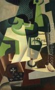 Bottle of Beaune and a Fruit Dish  by Juan Gris